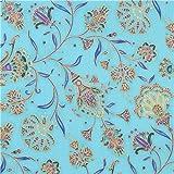 Blue colorful flower gold metallic fabric Robert Kaufman Studio RK (per 0.5 yard unit)