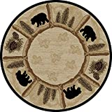 Cheap Dean Toccoa Bear Lodge Cabin Carpet Area Rug Size: 5'3″ Round
