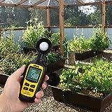URCERI Light Meter Digital Illuminance Meter Handheld Ambient Temperature Measurer with Range up to 200,000 Lux Luxmeter with 4 Digit Color LCD Screen