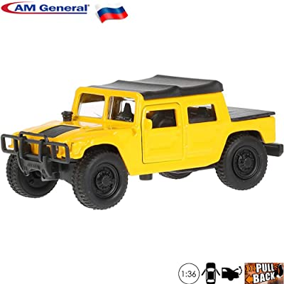 1:36 Scale Diecast Metal Model Car Hummer H1 Yellow Off-Road Vehicle Russian Die-cast Toy Car: Toys & Games