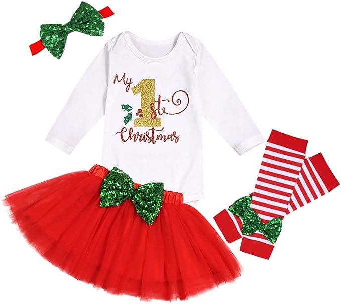 GRNSHTS My First Christmas Outfits Baby Girl Long Sleeve Romper+Baby Sister Tutu Skirt+Striped Leg Warmers+Bow Headband