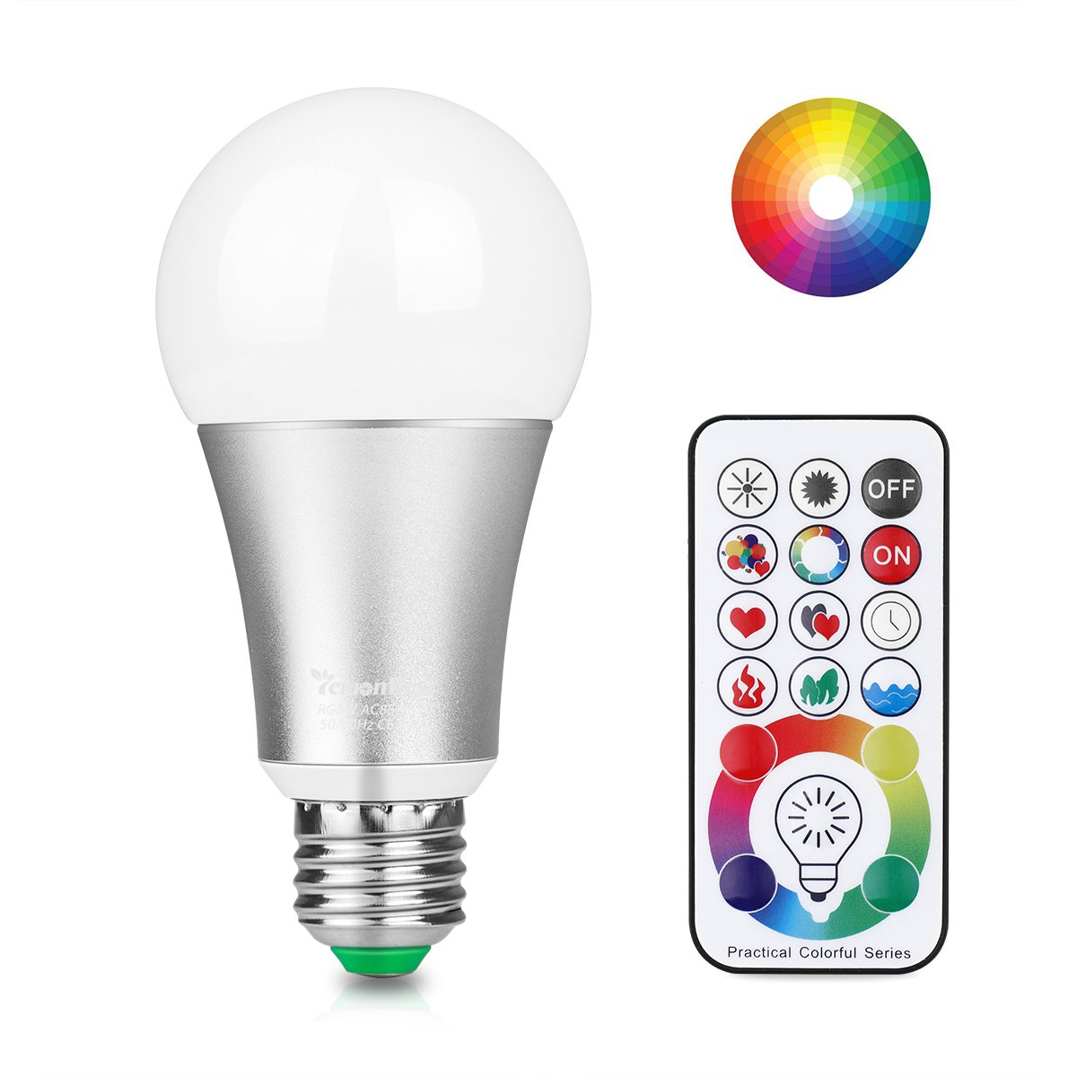 [Updated] Lemonbest 10W E27 Led Colour Changing Light Bulb with Remote Control, 120 Different Colour Choices, RGB+Daylight(6500K) Dimmable, Timming, Dual Memory DIY Collection Function, AC 85-265V ONEVER