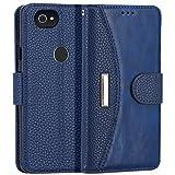 IDOOLS Google Pixel 2 Case, Wallet Folio Magnetic Detachable Case, 2 in1 Luxury Series Premium Vegan Leather Flip Wallet Card Holder with Kickstand Slim TPU Back Cover for Google Pixel 2 (Blue)