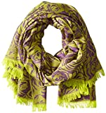 BADGLEY MISCHKA Women's Abstract Wool Floral Wrap, Purple, One Size