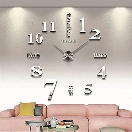 0e5ce7705 Modern Large 3D Wall Clock Numbers Letters DIY 3D Stickers Clock Office Home  Decor Gift