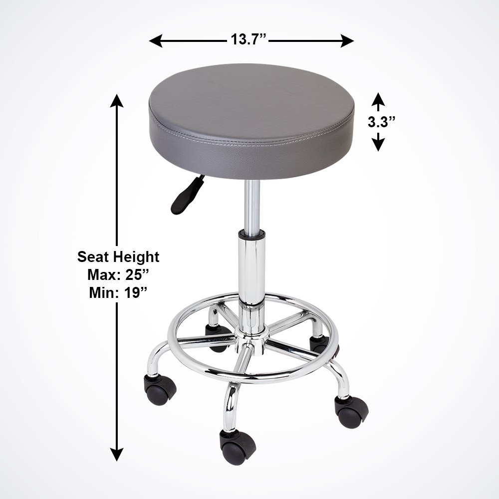 GotHobby Gray Adjustable Tattoo Salon Stool Hydraulic Rolling Chair Facial Massage Spa by GotHobby (Image #2)