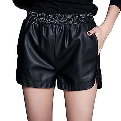 süß erstaunliche Qualität 2019 original YMING Damen PU Leder Rock Stretch Taille Winter Shorts