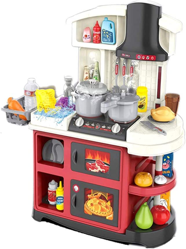 Bowa Kitchen Playset, Kids Toy Set with Food and Kitchens Accessories, Realistic Play Set with Lights and Sounds, 52pcs