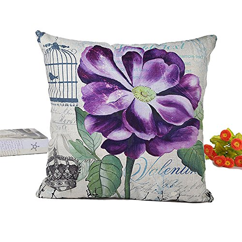 Purple Orchids Printed Soft Linen Lumbar Throw Pillowcases 18x18 Inch Square Burlap Cushion Digital Printing Flower Pillow Cover with Invisible Zipper for Couch , Lounge ,Living Room (Orchid-a) ()
