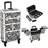 Sunrise I3764ZBWH Zebra 3 Tiers Accordion Trays 4 Wheels Professional Rolling Aluminum Cosmetic Makeup Craft Storage Organizer Case and Easy Slide Extendable Trays with Mirror and Brush Holder