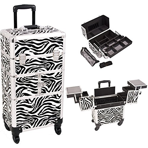 Sunrise I3764ZBWH Zebra 3 Tiers Accordion Trays 4 Wheels Professional Rolling Aluminum Cosmetic Makeup Craft Storage Organizer Case and Easy Slide Extendable Trays with Mirror and Brush Holder by SunRise