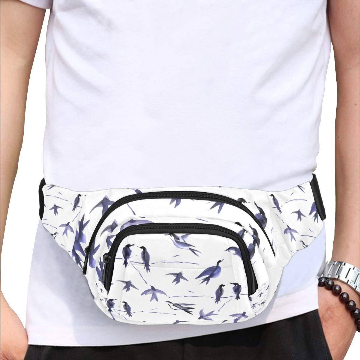 Many Swallows In Flight Fenny Packs Waist Bags Adjustable Belt Waterproof Nylon Travel Running Sport Vacation Party For Men Women Boys Girls Kids