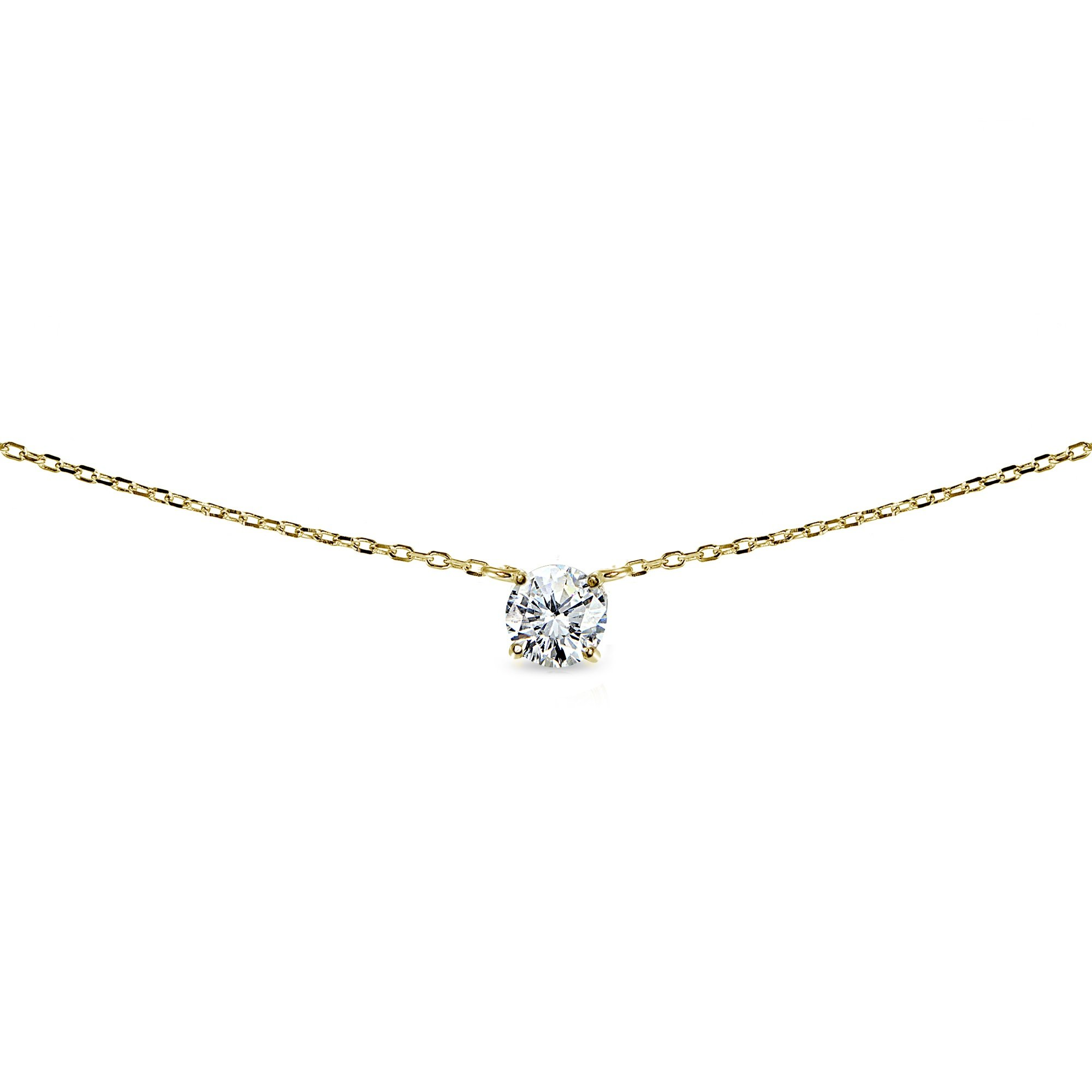 Lovve Yellow Gold Flashed Sterling Sterling Silver Round-Cut Cubic Zirconia Solitaire Choker Necklace