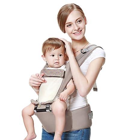 Mochila portabebé,Taburete de cintura Transpirable Multifunción Mochila fular ergonómica 100% algodón Hombros Cuatro