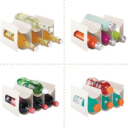 mDesign Práctico Estante para Botellas de Vino y Otras Bebidas – Botelleros para Vino de plástico con Capacidad para hasta 6 Unidades – Vinoteca de plástico de pie – Crema