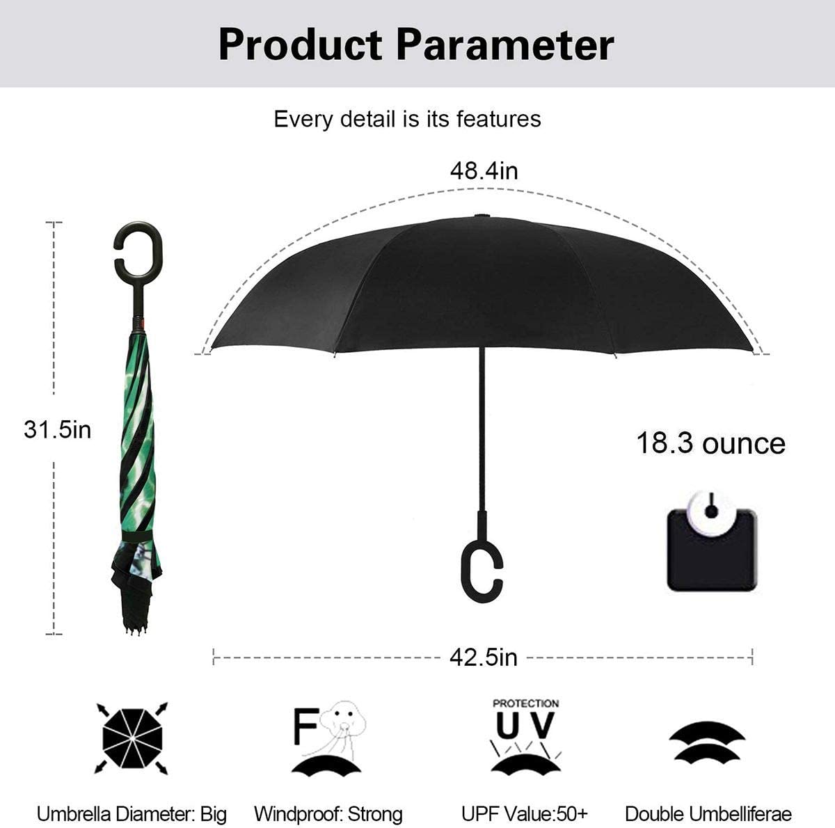 Windproof And Rainproof Double Folding Inverted Umbrella With C-Shaped Handle UV Protection Inverted Folding Umbrellas Statue Of Liberty And Godzilla Car Reverse Umbrella
