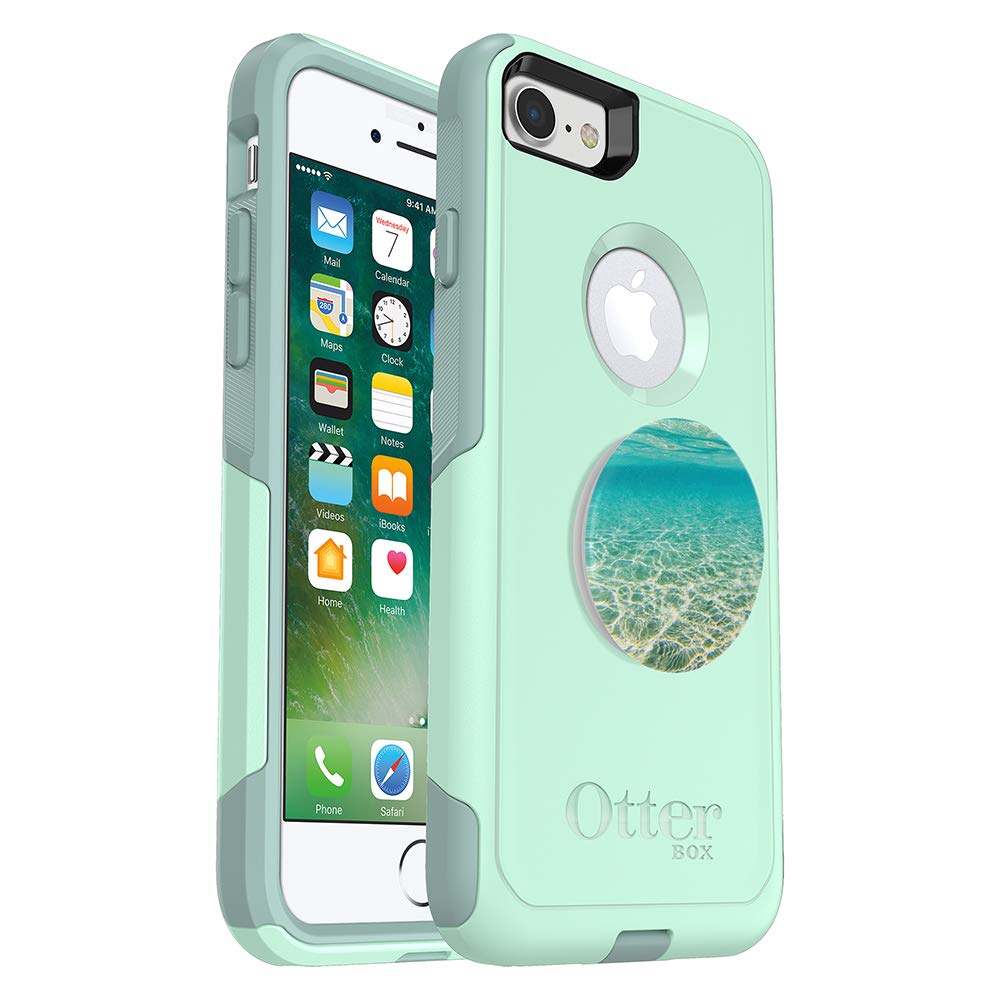 OtterBox Commuter Series Case for iPhone 8 & iPhone 7 (NOT Plus) - (Teal) + PopSockets PopGrip: Collapsible Grip & Stand for Phones and Tablets - (Color Burst Gloss)