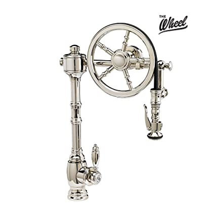 Waterstone 5100 Ab The Wheel Pull Down Kitchen Faucet Antique Brass