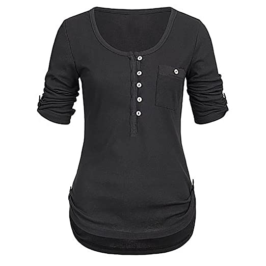 b48f3bedd867 TANGSen Women O-Neck Solid Long Sleeve Button Blouse Ladies Pullover Tops  Casual Loose Shirt