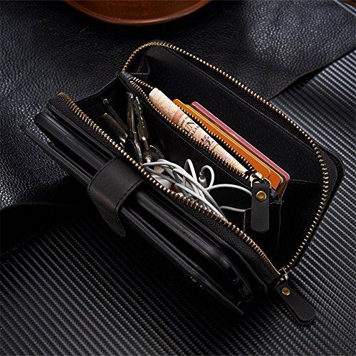 iPhone 7Plus/8Plus Women's Case,iPhone 7 Plus/8 Plus Wallet Case,Zipper Detachable Magnetic12 Card Slots Card Slots Money Pocket Clutch Cover Zipper Wallet Purse Case iPhone 7 Plus/8 Plus (Black) by TOPWOOZU (Image #5)