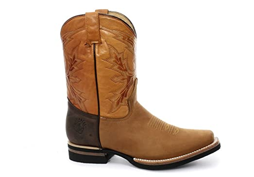 Grinders Front El Paso Tan Brown Real Leather Cowboy Boot Slip On Mid Calf Boots