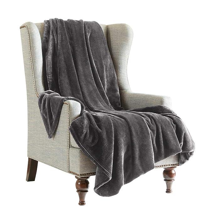 SCM Kuscheldecke XL Grau Wohndecke 280GSM Tagesdecke Decke Flauschig Weich und Angenehm Warm Überwurf Sofadecke mit Premium C
