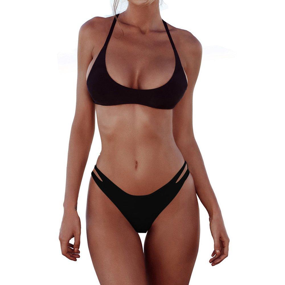 FANGUO SWIMWEAR レディース B07C9Z9WQK Medium|Bikini Set-black