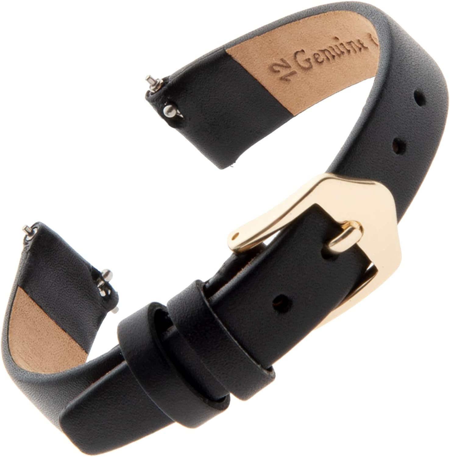 Gilden Ladies 10-14mm Quick Release Classic Calfskin Flat Black Leather Watch Band F60
