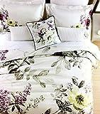 Vintage Botanical Wild Flower Print Duvet Quilt Cover 100-percent Cotton Bedding Set Colorful Floral Branches Drawing of Summer Blossoms (Queen, Mauve Purple)