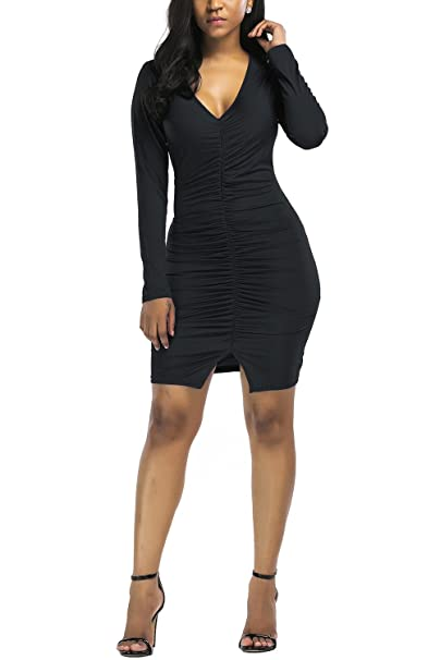 d6cb20a370135 WIWIQS Sexy Deep V Neck Ruffle Dress Fall Long Sleeve Bodycon Dresses for  Women,Black