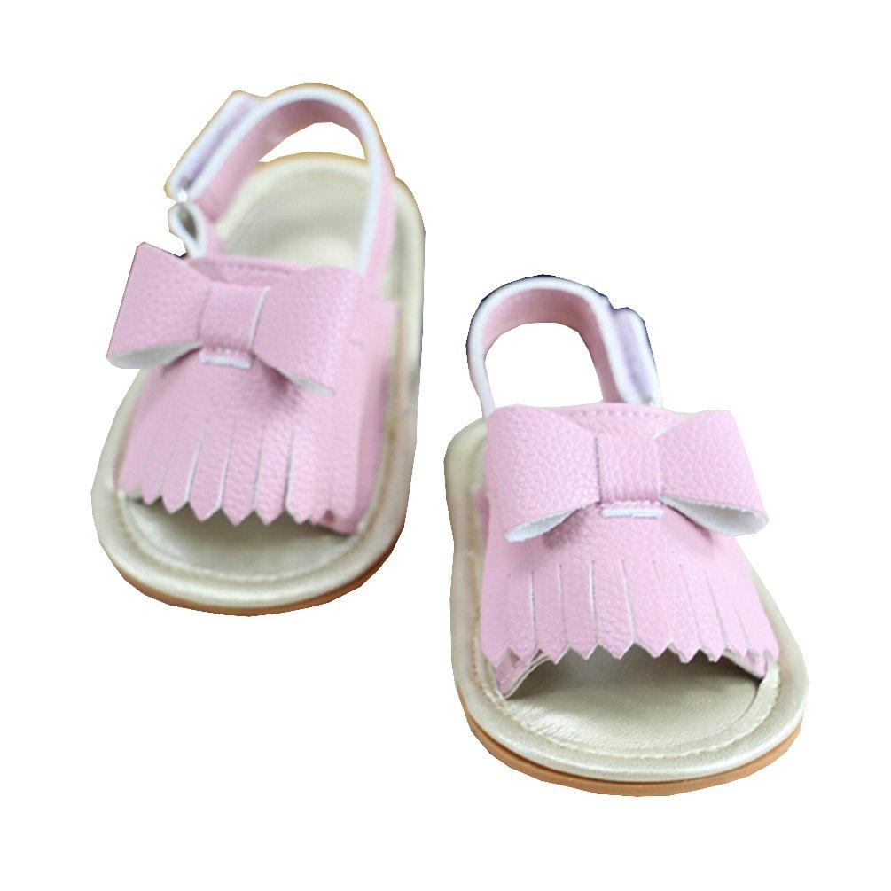 TheFound Summer Baby Girls Boys Sandal Bow Shoes Kids Slippers Prewalker 0-18M (6-12 M, Pink)