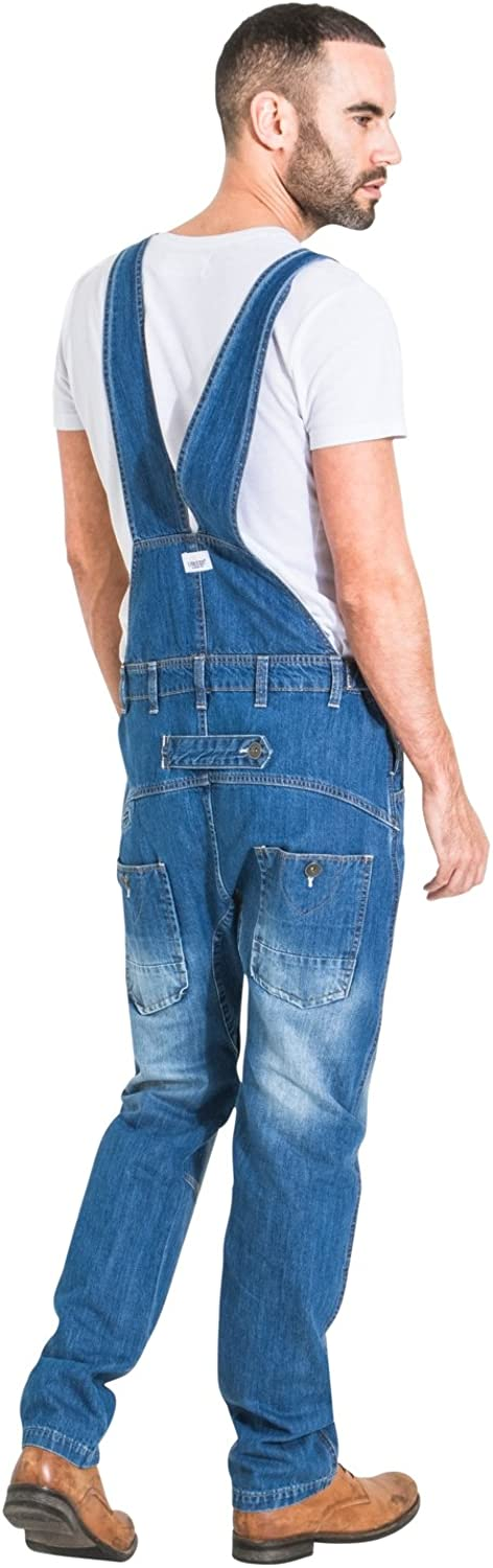 Mens Relaxed Fit Denim Dungarees Stonewash Basic Overalls MENSVALUESW