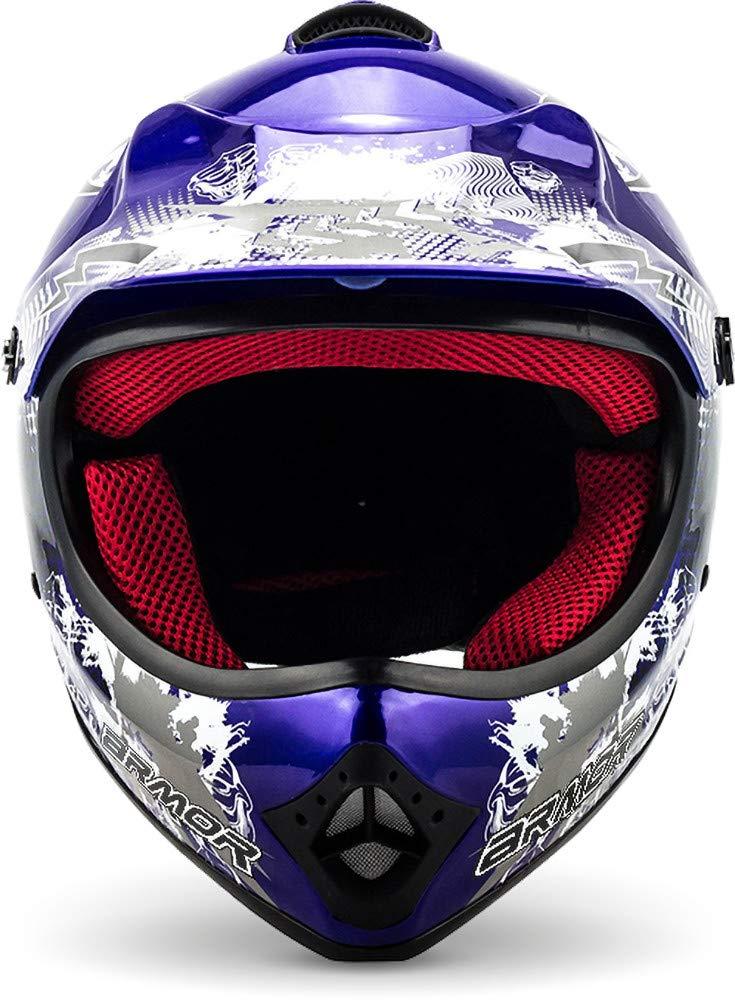 "/· Casco Moto-Cross /· Quad Off-Road Scooter NINOS Racing motocicleta Enduro /· DOT certificado /· Click-n-Secure/™ Clip /· Bolsa de transporte /· S silver Armor /· AKC-49 /""Titan/"" 53-54cm"