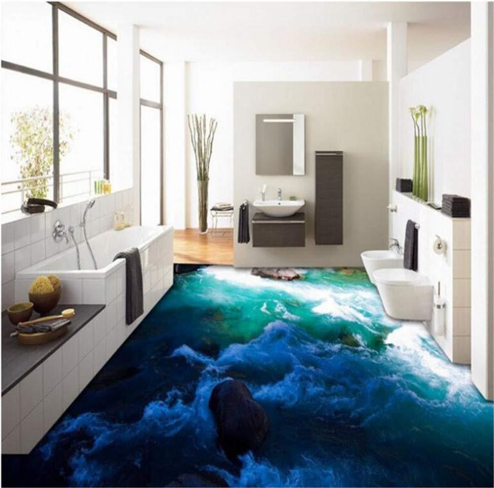 GBHL Benutzerdefinierte große Fresko 3D Outdoor Landschaft Torrent Fliesen Boden dreidimensionale Malerei dicke Abnutzung PVC Bodenpaste, 200x140 cm (78,7 x 55,1 in)