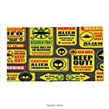 Custom printed Throw Blanket with Outer Space Decor Warning Ufo Signs with Alien Faces Heads Galactic Paranormal Activity Design Yellow Super soft and Cozy Fleece Blanket