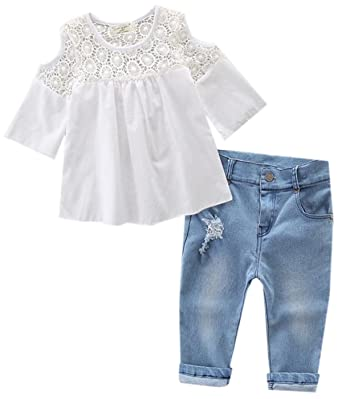 112a1db6760 Amazon.com: Betusline Baby Girls Cute Strapless Lace Top Blouse Ripped Jeans  Set: Clothing