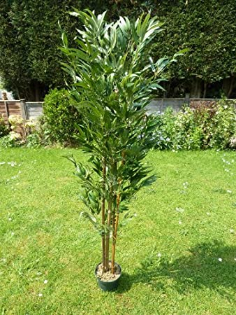 Captivating Artificial Plants   Large 5ft Bamboo Artificial Tree   1.5m 150cm Green  Foliage Plant In