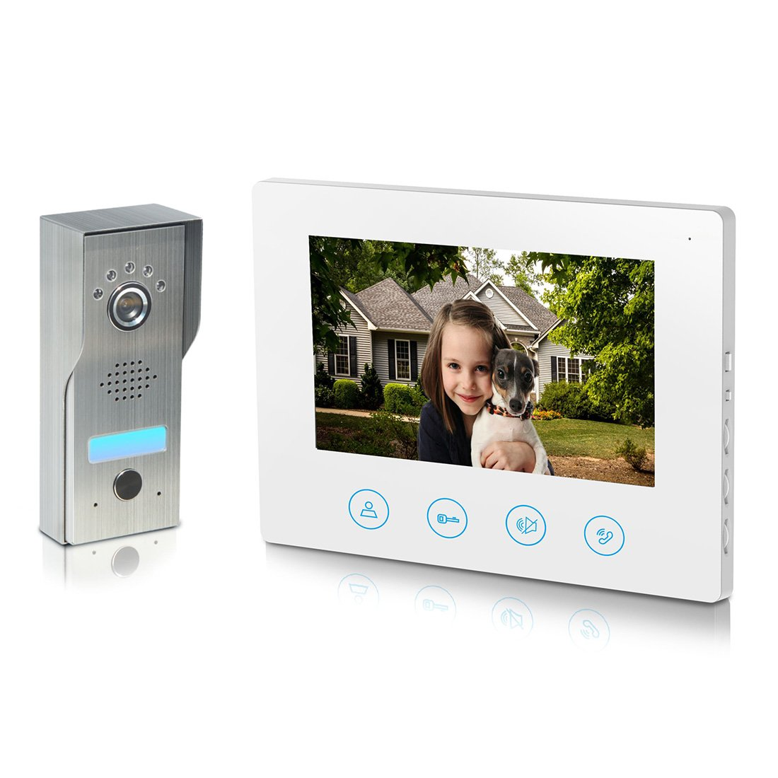 Metecsmart Video Doorbell 7inch Monitor - Stainless Steel Camera 4-wires IP44 water-proof Video Door Phone Intercom Kit 1-camera 1-monitor Night Vision Touch Button Color Screen - No Wi-Fi & APP White