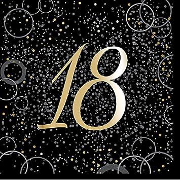 Unique Party- Paquete de 16 servilletas de papel de 18 cumpleaños, Color dorado metálico brillante (57498)