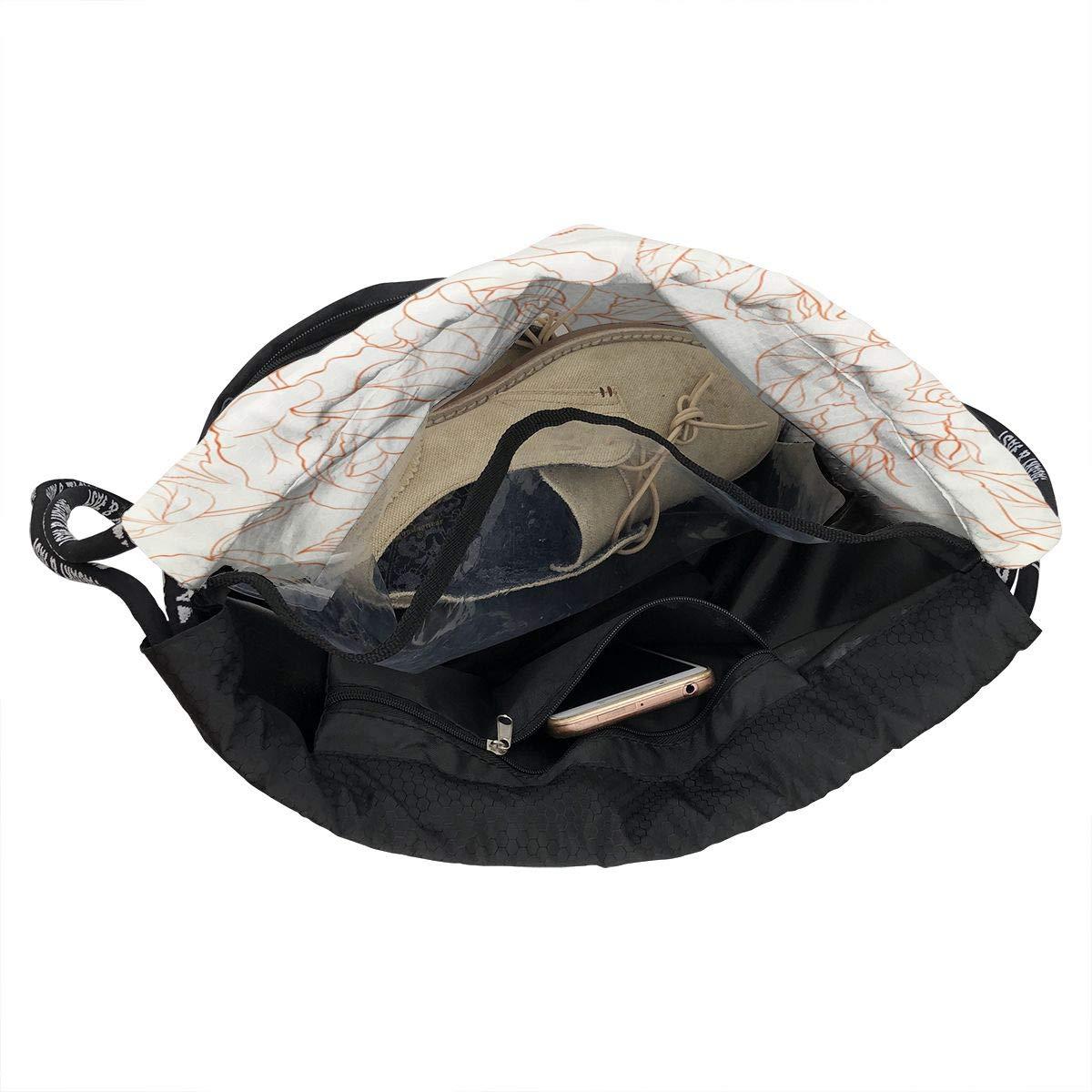 HUOPR5Q Rose-Seamless Drawstring Backpack Sport Gym Sack Shoulder Bulk Bag Dance Bag for School Travel