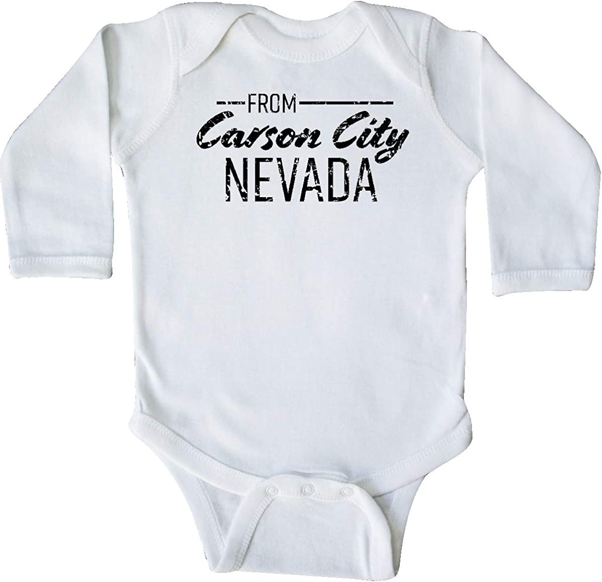 inktastic from Carson City Nevada in Black Distressed Text Long Sleeve Creeper