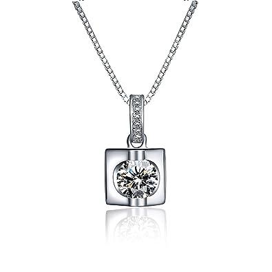 159418a9d59d Blisfille Collares de Flores Fiesta Collares para Bodas Collar Plata de Ley  Mujer Collar de Diamante