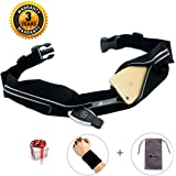 ABETER Best Running Belt Pocket Belt Waist Pack Pouch Sweatproof Rainproof Slim with 2 Expandable Pockets and No Bounce Zipper for Phone, Cards, Money, Sports,Travel, Jogging, Spy, Cycling, Hiking