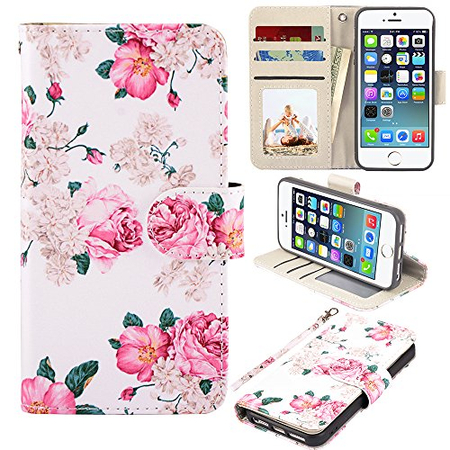 UrSpeedtekLive iPhone 5/5s/SE Case, iPhone 5/5s/SE Wallet Case, Premium PU Leather Wristlet Flip Case Cover with Card Slots & Stand for iPhone 5/5s/SE, Flower 2