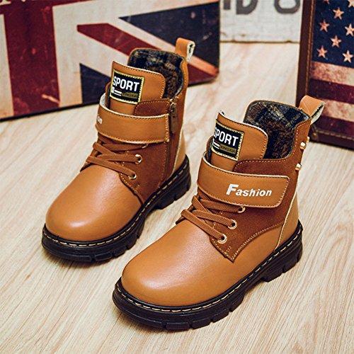Big Kids Fashion Waterproof Lace Up Martin Ankle Boots Zipper Combat Boots Shoes-Unisex