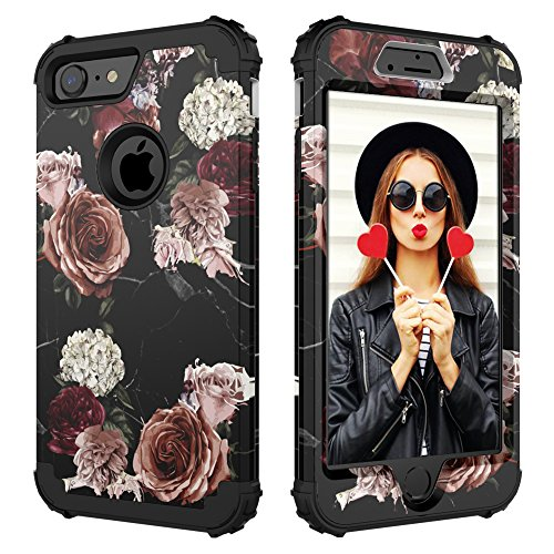Digital Hutty 3 in 1 Shockproof Heavy Duty Full-Body Protective Cover for Apple iPhone 7 2016/iPhone 8 2017 Marble Flower