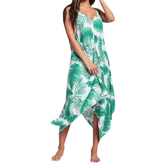 Ansenesna Vestido Playa Mujer Largo Verano Fiesta 2018 Corto Largo Sin Mangas con Cuello En V Sin Mangas De ImpresióN para: Amazon.es: Ropa y accesorios