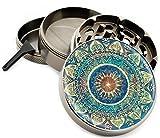 "Blue Mandala 4 Piece Zinc Titanium Metal Herb Grinder 2.5"" Vintage Grinders Diamond"