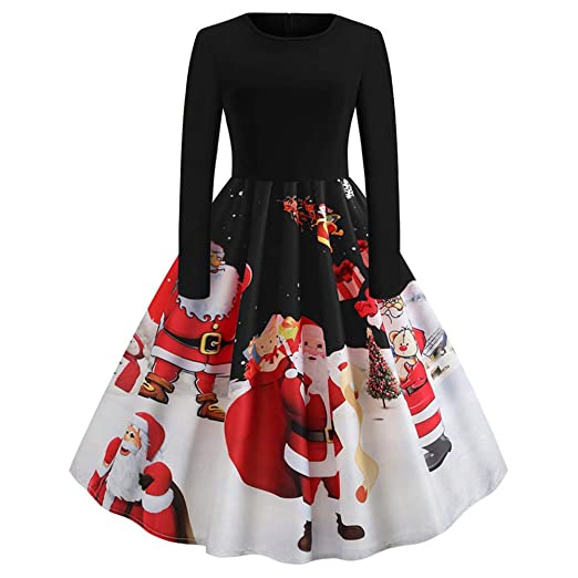 f56c2094482 Christmas Women s Vintage Long Sleeve Santa Claus Print A Line Dresses Gown  Evening Party Cocktail Swing