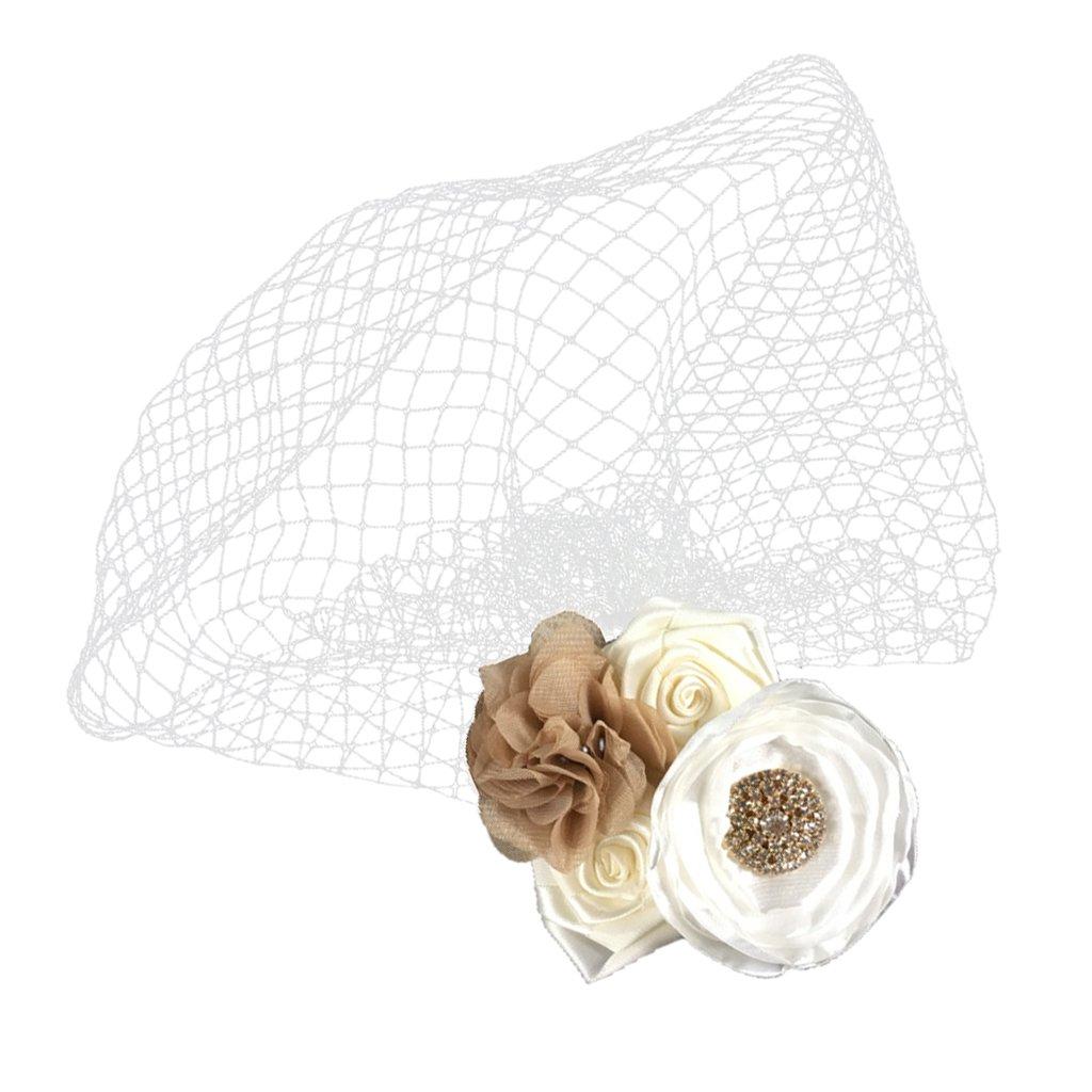 Jili Online Beige Crystal Rose Birdcage Bride Face Veil Wedding Headpiece Lady Fascinator